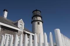 Górska latarnia morska przy Cape Cod, Massachusetts Zdjęcia Royalty Free