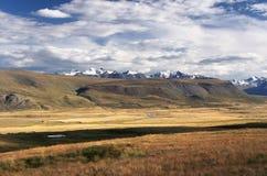 Górska rzeczna dolina z żółtą trawą na tle śnieg zakrywał góry i lodowów zdjęcie stock