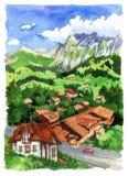 Górska wioska royalty ilustracja