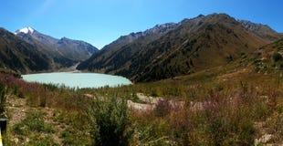 Górski jezioro, góry i łąkowa trawa, Fotografia Royalty Free