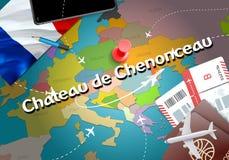 Górskiej chaty De Chenonceau miasta podróż i turystyki miejsce przeznaczenia concep ilustracja wektor