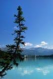 górskiej chaty jeziorna Louise góra fotografia stock