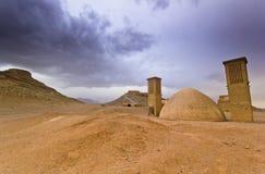 Góruje cisza w Yazd, Iran przy zmierzchem fotografia royalty free