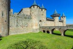 Góruje Średniowieczny kasztel, Carcassonne Zdjęcie Royalty Free