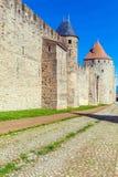 Góruje Średniowieczny kasztel, Carcassonne Zdjęcia Stock