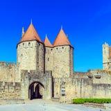 Góruje Średniowieczny kasztel, Carcassonne Fotografia Stock