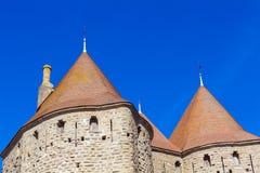 Góruje Średniowieczny kasztel, Carcassonne Obraz Stock
