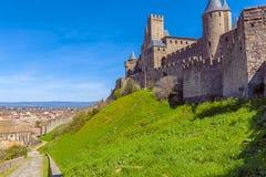 Góruje Średniowieczny kasztel, Carcassonne Zdjęcie Stock
