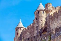 Góruje Średniowieczny kasztel, Carcassonne Zdjęcia Royalty Free