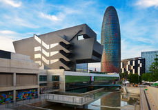 Góruje Torre Agbar w Barcelona Obrazy Royalty Free