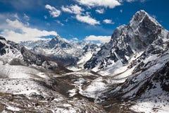 Góry Ama Dablam, Cholatse, Tabuche szczyt Wędrówka Everest półdupki Zdjęcie Stock
