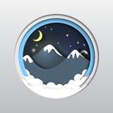 Góry, chmury, gwiazdy i księżyc papier, rzeźbią Obraz Stock