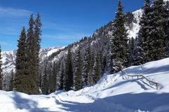 góry drogowej zimy śniegu Fotografia Royalty Free