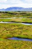 Góry i doliny w parku narodowym Thingvellir w Iceland 12 06,2017 Obrazy Royalty Free
