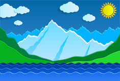 Góry i jezioro Zdjęcia Stock