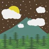 Góry i księżyc Zdjęcia Stock