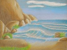 Góry i plaża Fotografia Royalty Free