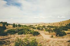 Góry i pole Zdjęcia Stock