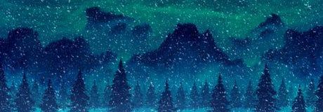 Góry i sosny w opadu śniegu obrazkowym landscap Obrazy Royalty Free