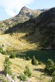 Góry i woda w Tena dolinie, Pyrenees Urdiceto Zdjęcia Stock