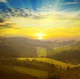 Góry i wschód słońca Obrazy Royalty Free