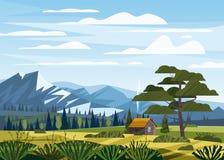 Góry krajobrazowa dolinna wiejska wieś, gospodarstwo rolne domu zieleni łąki z góry panoramy horyzontem w modnym mieszkaniu royalty ilustracja