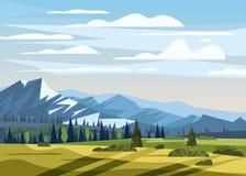 Góry krajobrazowa dolinna wiejska wieś, zielone łąki z góry panoramy horyzontem w modnym mieszkanie stylu i ilustracji