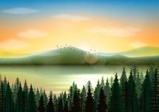 Góry krajobrazowy tło z jeziornym i jedlinowym drzewem ilustracja wektor
