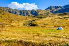 Góry kształtują teren z jeden małym popielatym namiotu ai jesieni sezonem Zdjęcia Royalty Free