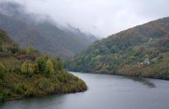 Góry, lasy i mgła w Cerna dolinie, fotografia royalty free