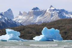 Góry lodowe w jeziorze Popielatym paine park del Krajowych torres patagonia Chile zdjęcie royalty free