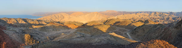 Góry na południowej granicie Izrael (panorama) Obrazy Royalty Free