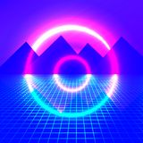 Góry na tle neonowi światła ilustracji