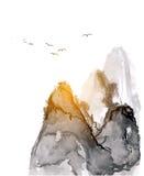 Góry, pociągany ręcznie z atramentem Zdjęcie Royalty Free