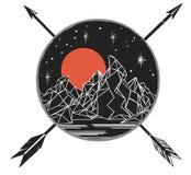 Góry pod gwiaździstym niebem, krzyżuje strzała Wektorowy szablon w boho stylu Obrazy Royalty Free