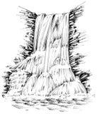 Góry siklawa ilustracja wektor