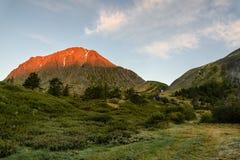 Góry siklawy drzew rzeczny świt Zdjęcie Royalty Free