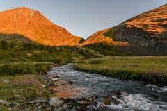 Góry siklawy drzew rzeczny świt Zdjęcie Stock