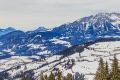 góry snow zima Ośrodek narciarski Soll, Tyrol Fotografia Stock