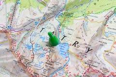 Góry Tatras na geographical mapie Planować chodzącą trasę przez gór Zdjęcie Stock