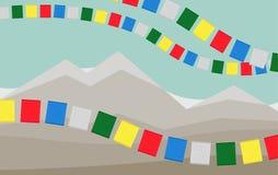 Góry z Kolorowymi Tybetańskimi modlitw flaga ilustracji