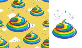 Gówno jednorożec wzór Turd tęczy kolory Kal tęcza fantastyczna Zdjęcia Royalty Free