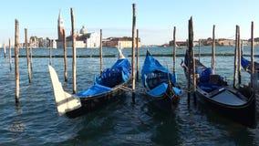 Gôndola amarradas que balançam na água na baía de San Marco Veneza, Italy vídeos de arquivo