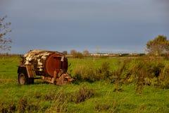 Gödselspreader som är gammal i jordbruksmark Arkivfoto