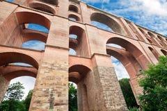Göltzschtalbrütske viaduct, Tyskland Arkivfoto
