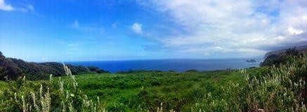 Gömd dal som är panorama- i Hawaii Arkivbild
