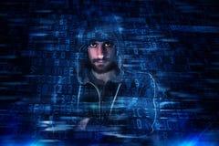 Gömd identitet av en en hacker royaltyfria bilder