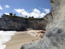 Gömd strand, fyrstrand, Eleuthera, Bahamas Arkivfoto