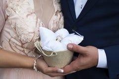 Gömma i handflatan av bruden och brudgummen, hållvigselringar Arkivfoton