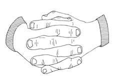 Gömma i handflatan be handen drog skissade illustrationen Arkivbilder